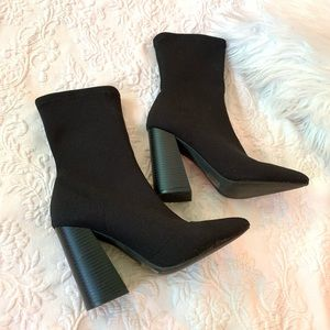 Shoes - High Ankle Black Sock Boots 7.5